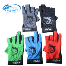 Agepoch 1pairs 2016 New Design Durable Anti-Slip Anti-Cut 3 Cut Finger Anti Slip Outdoor Fishing Gloves 3 Cut