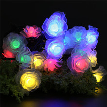 Outdoor Christmas Party Fairy Solar Lights 6M 30 LED Solar Powered Rose Flower String Lights Lamp(China)