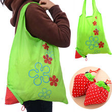 1 Piece Eco Storage Handbag Strawberry Foldable Shopping Tote Reusable Bags Random Color(China)