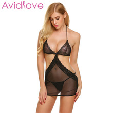 Buy Avidlove Lingerie Sexy Hot Erotic Sex Underwear Women Floral Lace Mesh Babydoll Dress Chemise Nightgown Female Negligee Costume