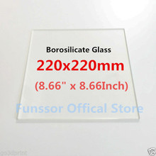 Funssor Borosilicate Glass Plate Bed 220mm x 220mm Flat Polished Edge for MK2 MK3 Reprap 3D printer