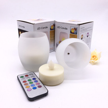 Set of Blow on/off LED Tealight Candle with Glass Holder