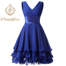 Dannifore Short V-Neck Bridesmaid Dresses for Girls Wedding A-Line Pleat Prom Party Gowns Green Red Black Purple Royal Blue B013
