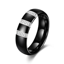 FASHION Jewelry Factory Price Accessories High Quality Inlaid stone Black white Ceramic Ring for Women / Men