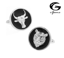 iGame Men Gift Animal Cufflinks Black Color Copper Material Novelty Bull & Bear Stock Market Design Free Shipping