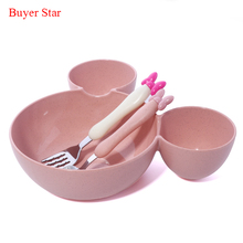 Wheat food material plastic mickey Head big bowl dish of fruits baby dishes cat spoon Fork lunch box(China)