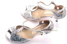 New Free Shipping Silver Ballroom Dance Shoes Salsa Shoes Latin Heels Suede Sole