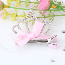 Hollow Crown Hairpins in Children Accessories Tiaras Hair Barrettes Baby Girls Kids Hair Ornament Hairclips with Ribbon Bow Tie(China)