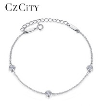 Buy CZCITY Brand Simple Classic Cubic Zirconia Charm Women Chain Link Sterling Silver Bracelet Women Female Fine Jewelry Gift for $11.65 in AliExpress store