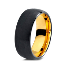 Wedding band tungsten ring for men and women with black&gold-color 8mm(China)