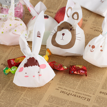20 Pcs Cartoon Gift Cute Biscuit Candy Bags Rabbit Ear Cookie Package Easter Supply(China)