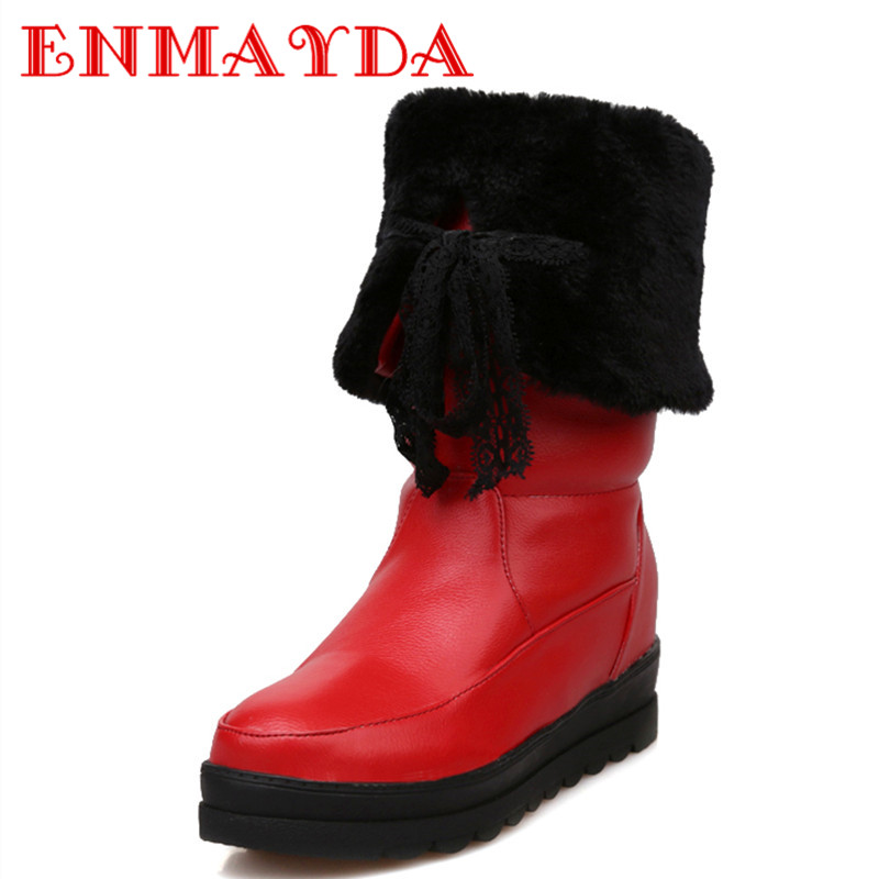 Mid-calf Boots for Women Low Heels Wedges Winter Boots Two Wear Style 3 Colors White Shoes Woman Size 34-40 Snow Boots<br><br>Aliexpress