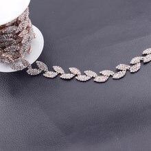 10yards handmade bridal sash sewing rose gold crystal rhinestone applique  trim sew on for wedding dress leaves chains HF-624 30f218826fc6