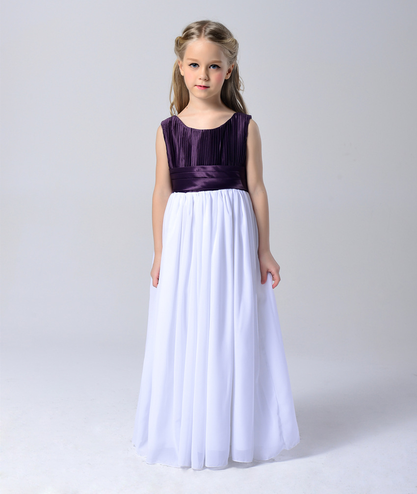 Fashion purple and white chiffon girls maxi dresses kids clothes party dresses 13 year olds dresses for wedding and party<br><br>Aliexpress