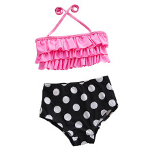 Kawaii Children Girls Pink Bikini Set Baby Two Pieces Swimwear Beach Suit Pink Top + High Waist Black Dot Pants(China)