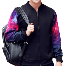 Men's Galaxy Printed Sleeve Jacket Brand Black Sweatshirt Suit Pullover Tracksuits Masculino Casual Baseball Uniform Coat(China)
