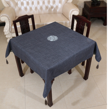 Square Linen Embroidered pattern waterproof oilproof and anti-heat Dark blue table cloth( various size can be customized)