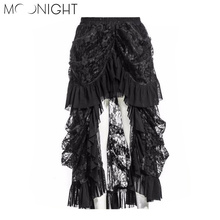 MOONIGHT Hot Sexy Women Lace Fluffy Midi Trumpet Skirt Ladies Vintage Steampunk Slim Long Mermaid Skirt S-5XL(China)