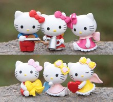 6 Pc /set Anime Hello Kitty Toy Set Car Accessories Pvc Mini Dolls Action Figures Baby Kids Toys Gift For Boys Girls Children