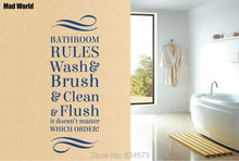 Mad World-Bathroom rules wash brush clean Flush Wall Art Stickers Wall Decal Home DIY Decoration Removable Decor Wall Stickers()