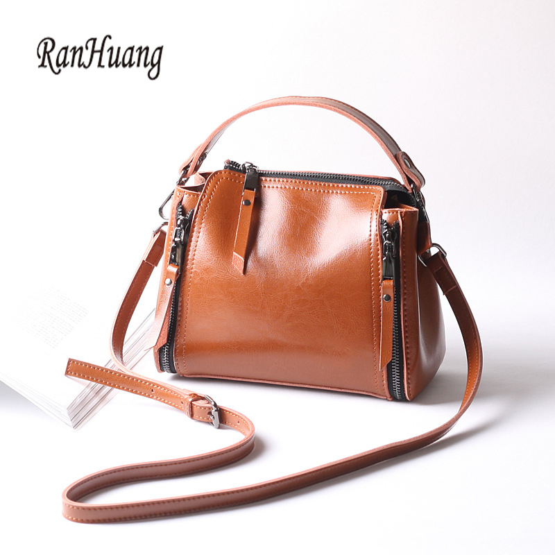 RanHuang Brand New 2017 Women Genuine Leather Handbags Small Handbags Ladies Luxury Shoulder Bags Vintage Messenger Bags Black<br>