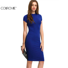 COLROVIE Summer Office New Arrival Women's Bodycon Dresses Fashion Sexy Short Sleeve Crew Neck Work Knee Length Dress(China)