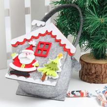 Cartoon House Shape Christmas Gift Bag Santa Claus Candy Bag Handbag Bauble Toys Organizer Xmas Tree Ornaments Home Decor