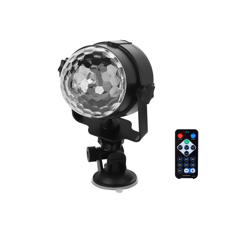 Mini Crystaal USB RGB LED Party Light Remote Rotating Magic Ball Stag Lamp DJ Light with Remote Controller &amp; Vehicle Suction Cup<br><br>Aliexpress