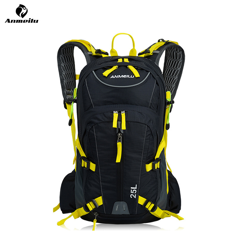 ANMEILU Outdoor Sports Backpack Rucksack 25L Waterproof Camping Hiking Cycling Bag with Water Bags Helmet Net Cover 47*25*19cm <br>