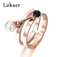 Lokaer New Design Simulated Pearl & Black Cubic Zirconia Ring Jewelry Titanium Steel Engagement Wedding Women Rings R171400366R(China)