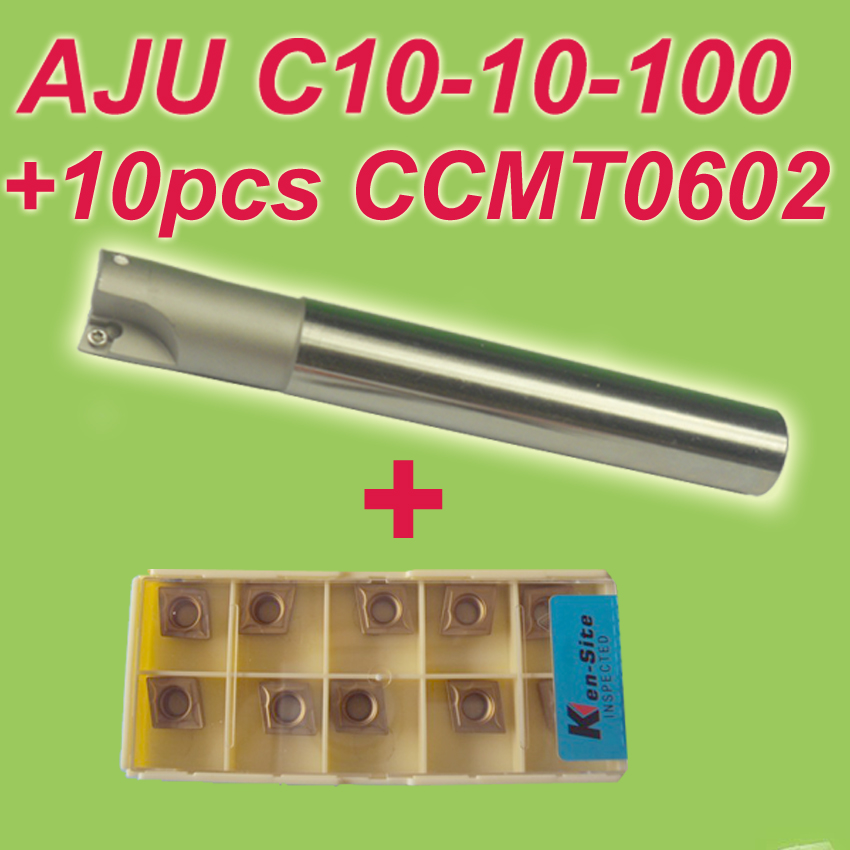 Free Shiping1pcs AJU C10-10-100 +10pcs CCMT060204 Dia 10mm Insertable Bore Drilling End Mill Cutting Tools Arbor  for CCMT060204<br>