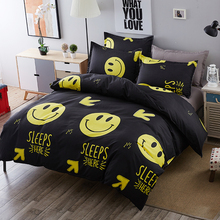 Cartoon Duvet Cover Set Black emoji printing 3/4pcs bed set Single Full/Queen/King size Bedlinen bedding sets wholesale