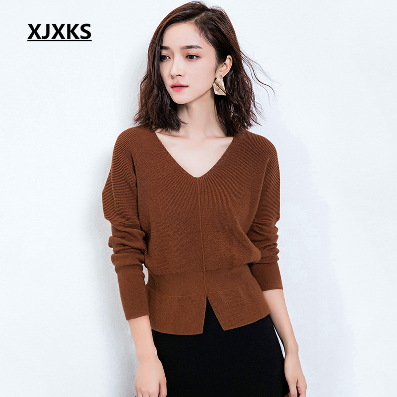 XJXKS V Neck Sweater Women Long Sleeve Loose Sweaters And Pullovers Winter Autumn 2017 Ladies Sweater Jumper With Belt I6201