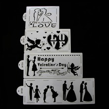 4Pcs/Lot Cake Plastic Stencil Wedding Romantic Cake Decorating Tools Kitchen Products Cupcake Baking Tool For  Valentine's Gifts