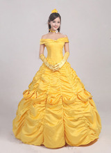Women Dress Beauty and The Beast Princess Belle Yellow Dress Coplay Costume Custome Made Free Shipping