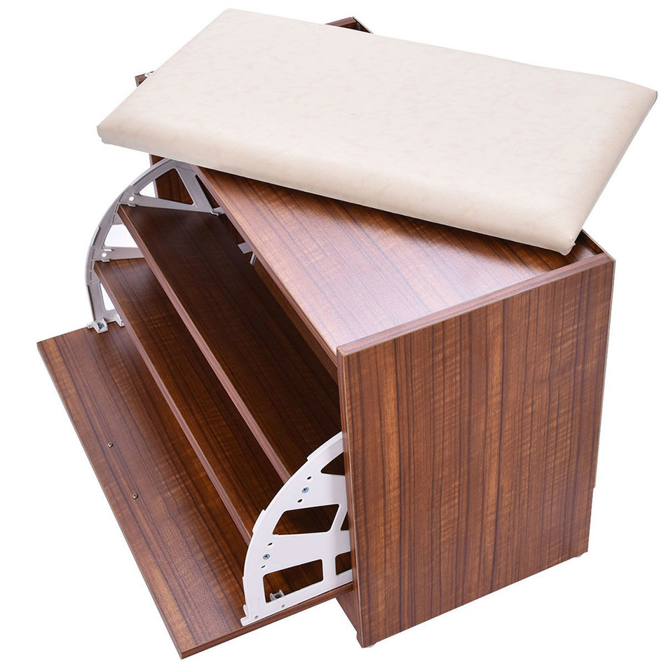 Free Shipping Shoe Cabinet Storage Closet Organizer Ottoman Bench Shelf Entryway W/Handle from US Delivery(China (Mainland))
