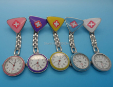 Wholesale 50pcs/lot Mix 8colors Nurse Fob Watch Triangle Cross watch gmedical nurse watch NW029(China)