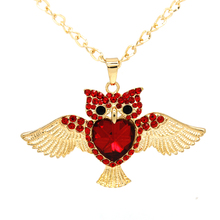 New Brand Fashion Charms Red Crystal Owl Necklace  Gold Color Long Chain Necklaces&Pendants Women Jewelry Wholesale FNG0013-B