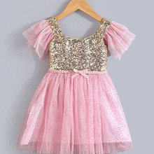 Summer Sequins Tutu Dress Toddler Baby Flower Girls Wedding Pegeant Party vestidos 2-7T