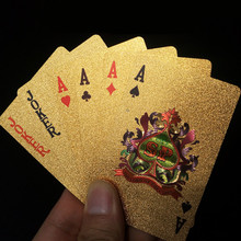 Brand waterproof Golden Playing Cards gold foil poker set high quality with wooden box playing cards pokerstars party game(China)