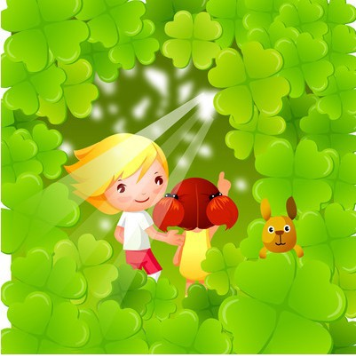 Free Shipping Kindergarten Four Leaved Clover Children & Dog Hide And Seek Cartoon Wall Stickers For Kids Rooms Home Decoration|childrens wall