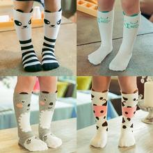 2017 Cartoon Cute Children Sock Print Animal Cotton Baby Kid Sock Knee High Long Fox Socks For Toddler Girl Clothing Accessories(China)