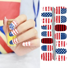New Fantacy Impressionism USA Flag Fashion Fast Instant Nail Art Stickers Decor Nail Foil Wrap Decorations W1