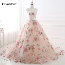 Favordear 2018 New Arrival Fashion Floral Print Floor Length Ball Gown Prom Dresses With Lace Appliques(China)