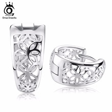 ORSA JEWELS 2017 New Hollow Out Design Fashion Earring Silver Color High Polished Jewelry Earring for Women OE28