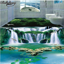 beibehang The new Custom floor painting 3 d fantasy waterfall water green forest 3 d bathroom adornment bedroom floor design