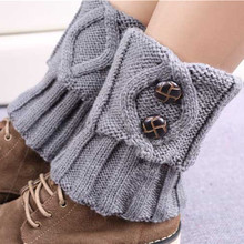 9 Colors Women Knit Leg Warmer Short Boot Cuffs Buttons Crochet Boot Socks Knitted Gaiters Leg Warmers for Autumn/Winter