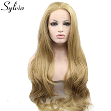 Sylvia 24# color blonde body wave synthetic lace front wigs with free parting natural look glueless heat resistant fiber hair(China)