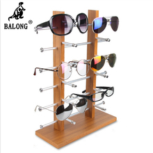 Double  wood 8/10 /12 pair  glasses display rack display holder 5 layers shape display stand for Sun Glasses plastic holder rack