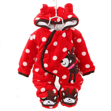 Newborn Infant Clothes Baby Romper Boy Girls Flannel Jumpsuits Baby Girl Cotton-padded Overalls Infant Clothing Autumn & Winter(China)